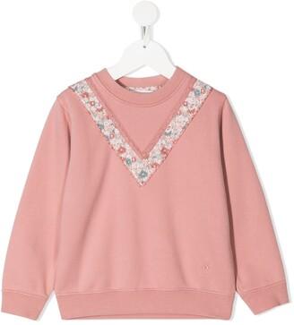 Bonpoint V-Shaped Floral Sweatshirt