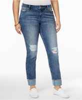 Celebrity Pink Trendy Plus Size Ripped Straight-Leg Jeans