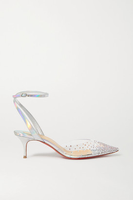 Christian Louboutin Spikaqueen 55 Crystal-embellished Pvc And Iridescent Leather Pumps - Silver