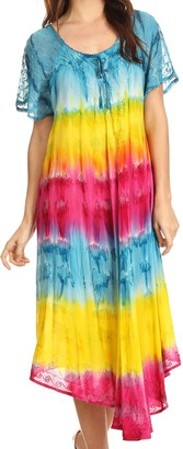 Sakkas 17506 - Sula Long Laced Rayon Tie-Dye Wide Neck Embroidered Boho Sundress Cover Up - Turq/Yellow - OS