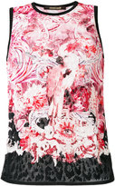Roberto Cavalli printed lace top - women - Cotton/Viscose - 40