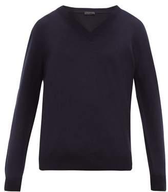 Prada V Neck Cashmere Sweater - Mens - Navy