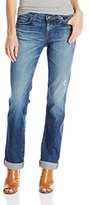 Big Star Women's Kate Straight Jeans with Rips and Repair with Dark Denim Patches For A Cool Worn Look