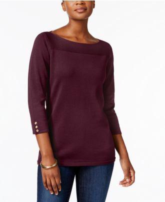 Karen Scott Boat-Neck Cotton Sweater, Created for Macy's