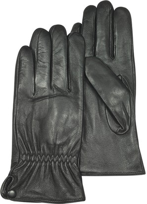 Forzieri Black Leather Men's Gloves