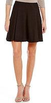 Moa Moa Elastic Waist Solid Knit Mini Skater Skirt