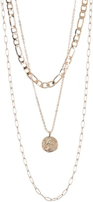 Area Stars Coin Link Layered Necklace Set