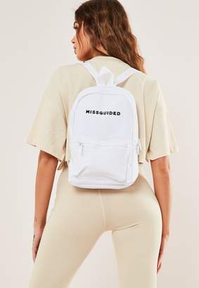 Missguided White Branded Rucksack