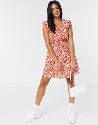 New Look mini dress in red ditsy floral