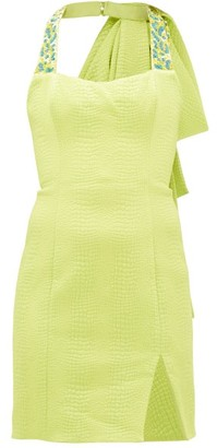 Halpern Beaded Matelasse Mini Dress - Green