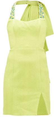 Halpern Beaded Matelasse Mini Dress - Womens - Green