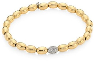 Sydney Evan 14K Yellow Gold, White Gold & Diamond Pave Ball Beaded Bracelet