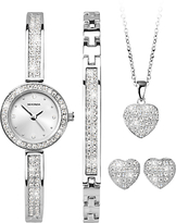 Sekonda 2528G.76 Women's Crystal Bracelet Strap Watch, Bangle, Necklace and Stud Earrings Gift Set, Silver