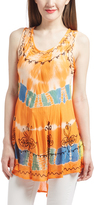 Orange & Blue Floral Embroidery Tunic