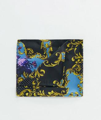 ASOS DESIGN chain & baroque print pocket square in black