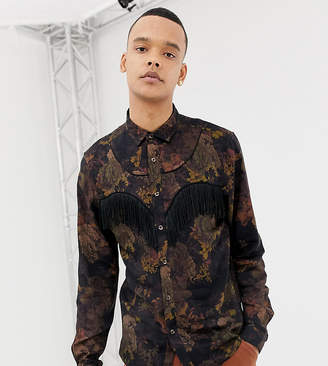 Asos Edition EDITION Tall floral western shirt with fringing detail-Multi