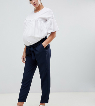 ASOS DESIGN Maternity Woven Peg Trousers with Obi Tie