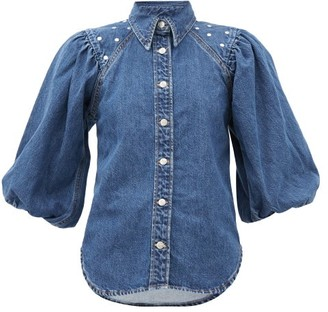 Ganni Studded Organic-cotton Denim Shirt - Denim