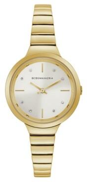 BCBGMAXAZRIA Ladies GoldTone Bracelet Watch with Silver Dial, 34mm