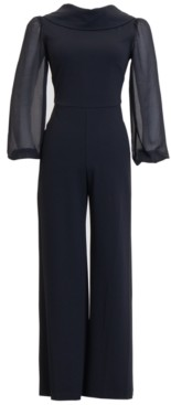Connected Scuba Roll-Collar Sheer-Long-Sleeve Jumpsuit