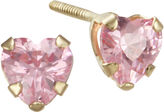 JCPenney FINE JEWELRY Girls Pink Cubic Zirconia Heart Earrings