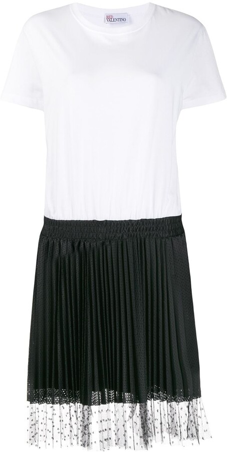 RED Valentino Two-Tone Short-Sleeve Flared Dress