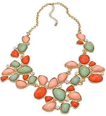 Blu Bijoux Multi Color Coral Bib Necklace