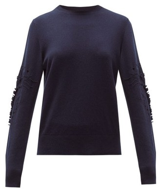 Barrie Pointelle-sleeve Cashmere Sweater - Womens - Navy