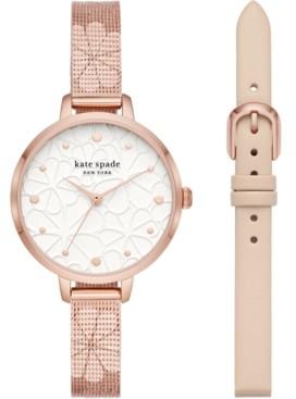 Kate Spade Women's Metro Floral Rose Gold-Tone Stainless Steel Mesh Bracelet Watch 34mm Gift Set