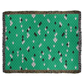 Green & Black ArtVerse Katelyn Elizabeth Snake Scales Woven Blanket - Photo Content Process 52 x 37