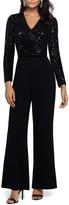 Xscape Evenings Sequin Long Sleeve Crepe Jumpsuit