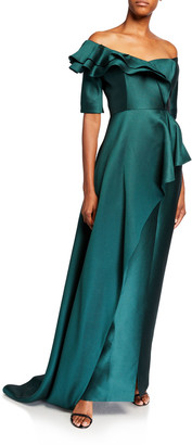 Rickie Freeman For Teri Jon Premier Off-the-Shoulder Elbow-Sleeve Silk Pique Asymmetric Peplum Gown