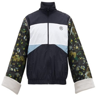 Martine Rose High-neck Jacquard-sleeves Track Jacket - Mens - Navy
