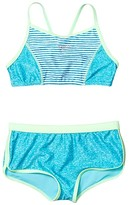Speedo Kids Print Blocked Two-Piece (Big Kids) (Capri Breeze) Girl's Swimwear Sets