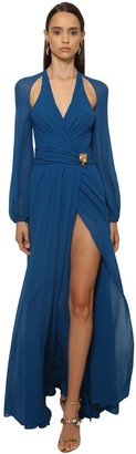 Roberto Cavalli Silk Georgette Long Dress W/ Cutouts