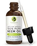 Foxbrim 100% Pure USDA Organic Neem Oil, Cold Pressed - Nutrient Rich Oil For Hair, Skin & Nails - Treat Acne, Fade Fine Lines, Heal Stretch Marks, Moisturize Hair & Scalp - 4OZ
