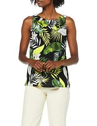 Dorothy Perkins Women's Sleeveless Pleat Neck Black/Lime Tropical Morrocaine Shell Dress,6 (Manufacturer Size:6)