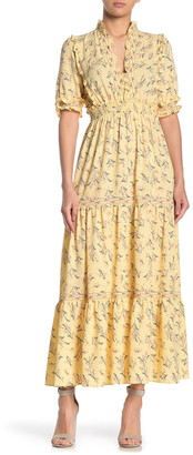 Max Studio Elbow Length Sleeve Print Tiered Maxi Dress