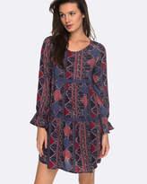 Roxy Womens Sweetness Seas Printed Long Sleeved Dress