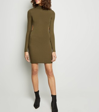 New Look Ribbed Cut Out Back Bodycon Dress
