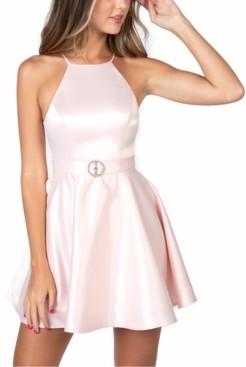 B. Darlin Juniors' Embellished Halter Fit & Flare Dress
