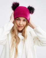 Helene Berman Double Pom Pom Pull On Beanie Hat