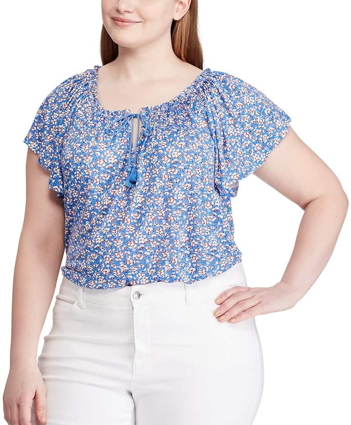 Chaps Plus Size Short Sleeve Lace Up Top