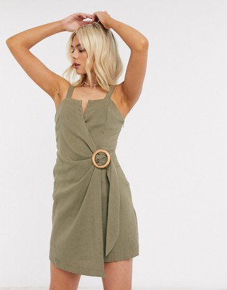 Moon River belted cami dress in olive