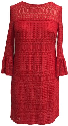 Sandra Darren Lace 3/4 Bell Sleeve Sheath Dress