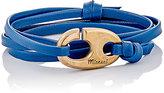Miansai MEN'S BRUMMEL HOOK ON LEATHER WRAP BRACELET-BLUE
