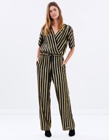 Maison Scotch Metallic Bias Stripe Jumpsuit