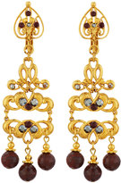 Jose & Maria Barrera Golden Jasper & Crystal Filigree Drop Earrings
