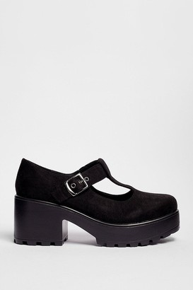 Nasty Gal Womens Raise the T-Bar Faux Suede Platform Shoes - Black - 5, Black