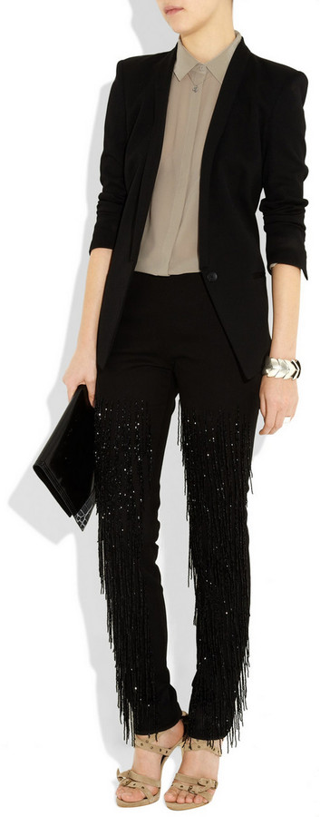 Maison Martin Margiela Beaded high-rise skinny jeans